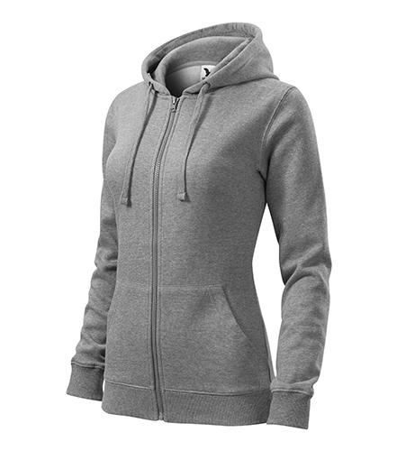 Trendy Zipper mikina dámská tmavě šedý melír