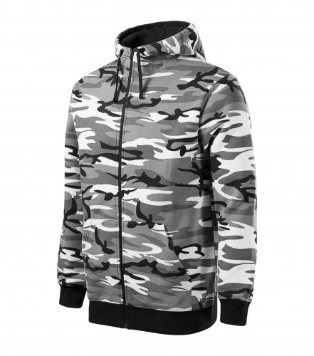 Camo Zipper mikina pánská camouflage gray