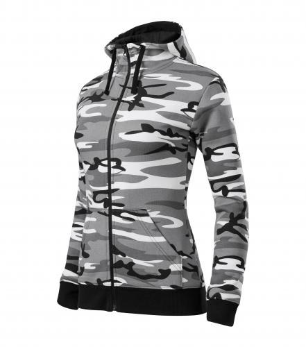 Camo Zipper mikina dámská camouflage gray