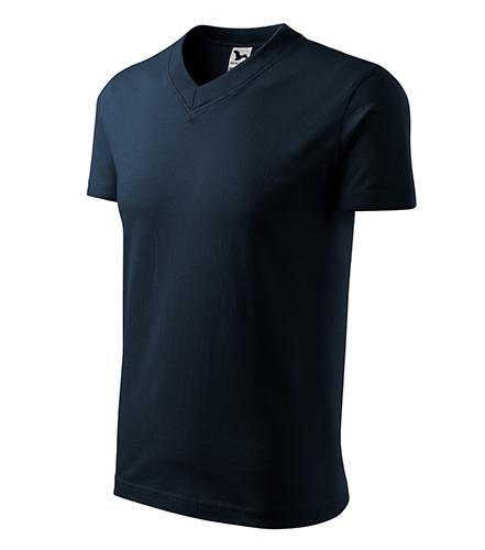 V-neck tričko unisex námořní modrá