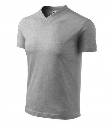 V-neck tričko unisex tmavě šedý melír