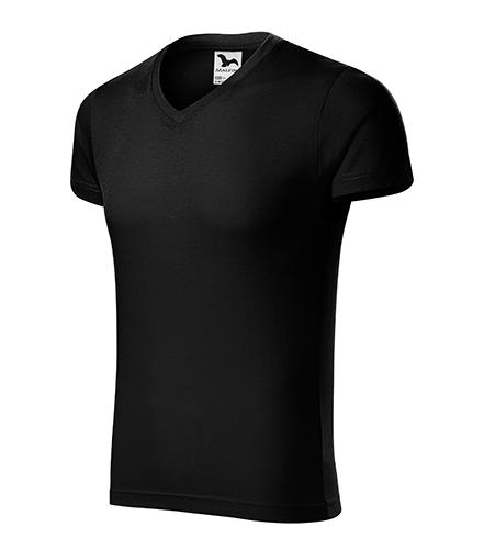 Slim Fit V-neck tričko pánské černá
