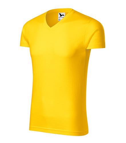 Slim Fit V-neck tričko pánské žlutá