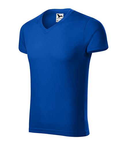 Slim Fit V-neck tričko pánské královská modrá