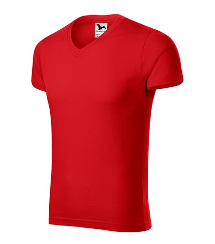 Slim Fit V-neck tričko pánské červená