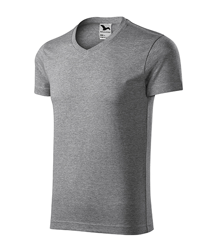 Slim Fit V-neck tričko pánské tmavě šedý melír