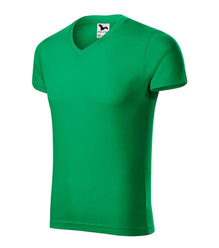 Slim Fit V-neck tričko pánské středně zelená
