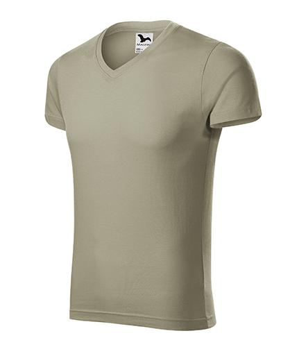 Slim Fit V-neck tričko pánské světlá khaki