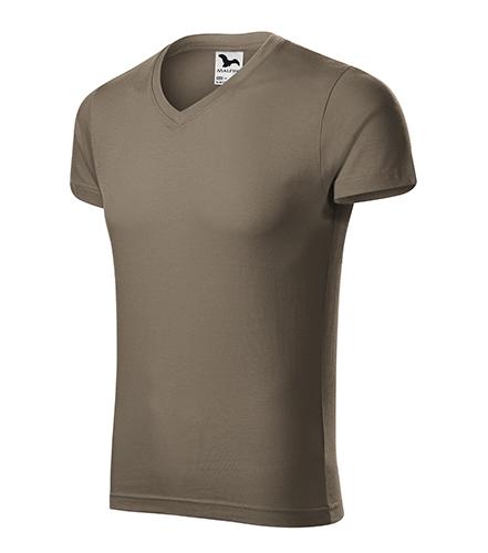 Slim Fit V-neck tričko pánské army