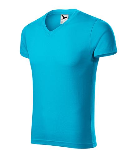 Slim Fit V-neck tričko pánské tyrkysová