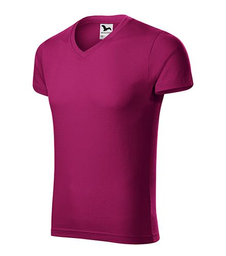 Slim Fit V-neck tričko pánské fuchsia red