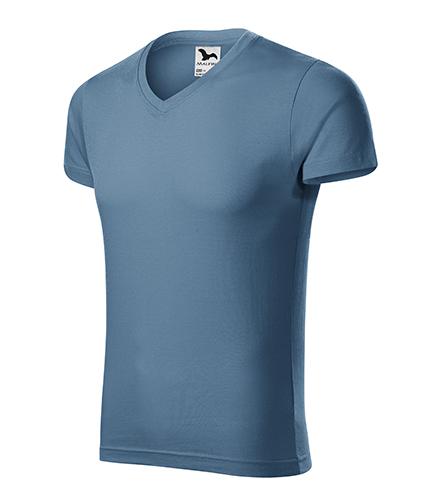 Slim Fit V-neck tričko pánské denim
