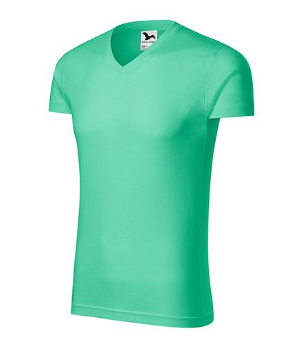 Slim Fit V-neck tričko pánské mátová