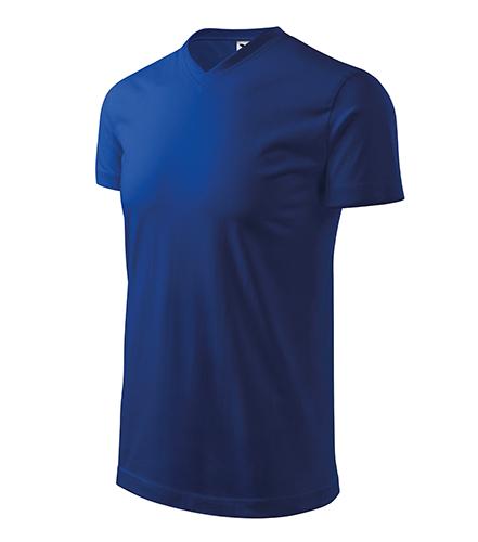Heavy V-neck tričko unisex královská modrá