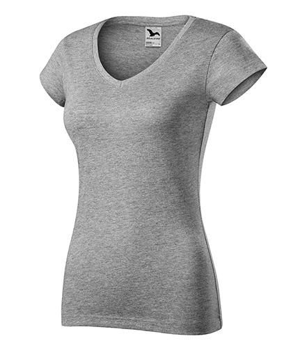 Fit V-neck tričko dámské tmavě šedý melír