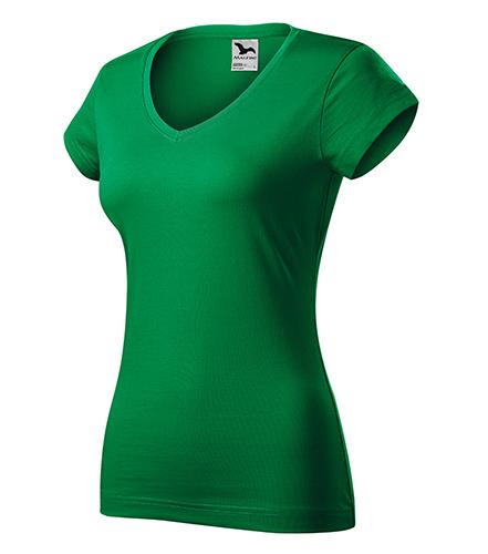 Fit V-neck tričko dámské středně zelená