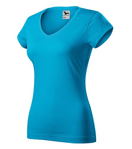 Fit V-neck tričko dámské tyrkysová