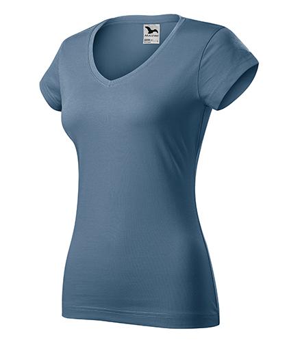 Fit V-neck tričko dámské denim